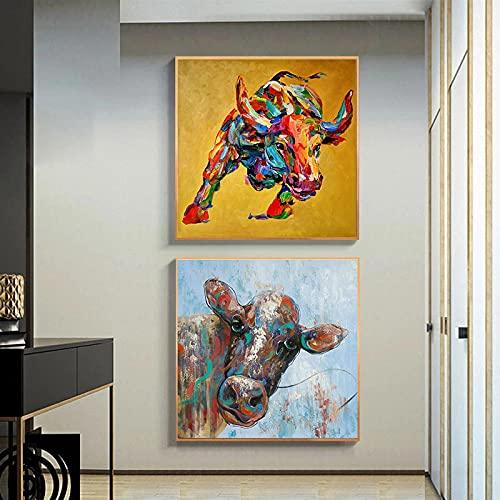 Gymqian Pinturas de Lienzo de Toro Colorido Abstracto Cuadro de Arte de Pared Cartel de Vaca e Impresiones para Sala de Estar Moderna Decoración para el hogar Mural 30x30cmx2 Sin Marco