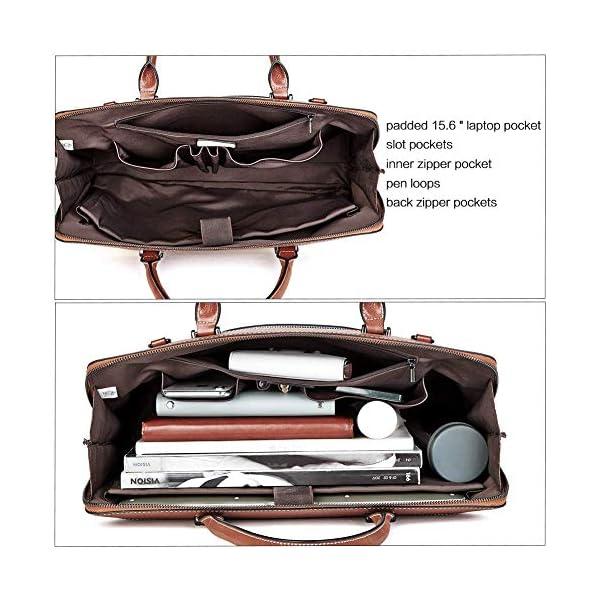 CLUCI Briefcase for Women Oil Wax Leather 15.6 Inch Laptop Business Vintage Slim Ladies Shoulder Bag Beige with Brown Handbags Purse for Women Designer Genuine Leather Brown 4