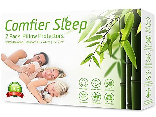 Protectores de Almohada Impermeables con Cremallera 48 x 74 cm, antialérgicos, 100% bambú. Paquete de 2, adecuados para Almohadas de Lujo, Transpirable, Hipoalergénica, Anti-Acaros, Anti-Bacteriana
