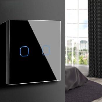 Aimengte Interruptor táctil inteligente LED capacitivo, resistente al rayado A prueba de arañazos Templado Interruptor de luz de pared de vidrio 220V 1/2/3 Cuadrante con luz indicadora: Amazon.es: Iluminación