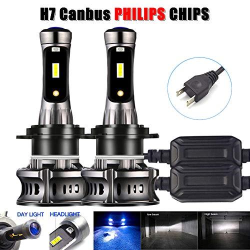 2 bombillas LED H7 para faros delanteros Canbus sin errores DRL de haz alto y bajo de 6000 K y 8000 K para coche