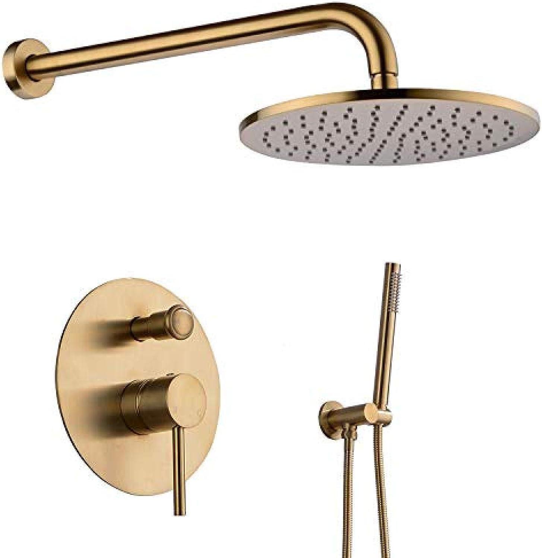 Wzglod-12-Zoll-Regenduschkopf für Badezimmer mit Handbrausen-Sets Komplettes Wandbrausensystem mit Brauseventilsteuerung, Gold gebürstet