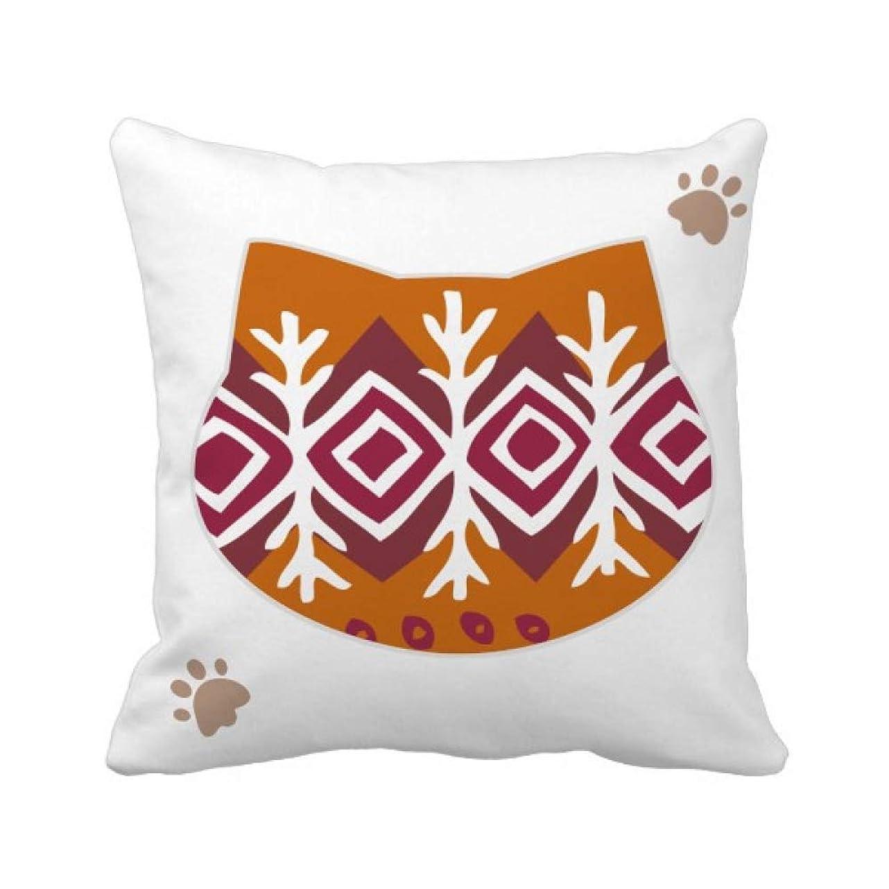 うんざりごちそう追う茶色のパターンのダーツメキシコトーテムの古代文明の描画 枕カバーを放り投げる猫広場 50cm x 50cm