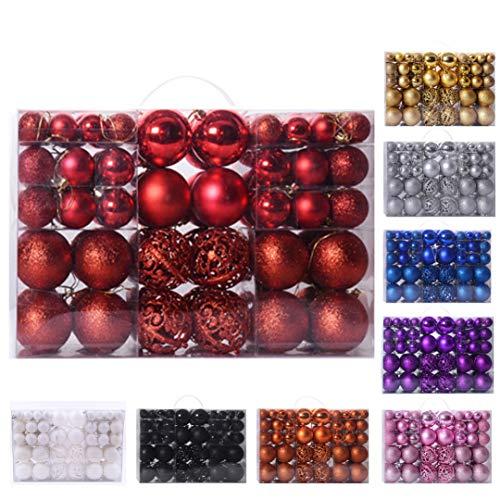 Mekiyo - Juego de 100 adornos para bolas de Navidad, diseño de árbol de Navidad, inastillables, con aro para colgar en bodas, fiestas, decoración