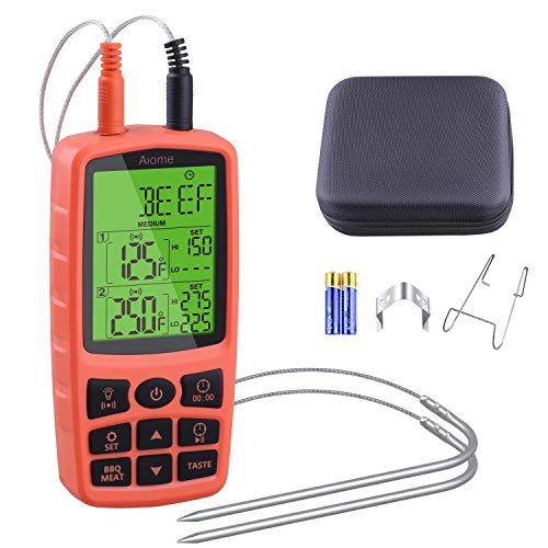 Aiome - Termómetro para cocinar carne de pavo para asar al horno, cocina, ahumador, barbacoa, termómetro, temporizador, alarma, con bolsa de transporte de doble sonda