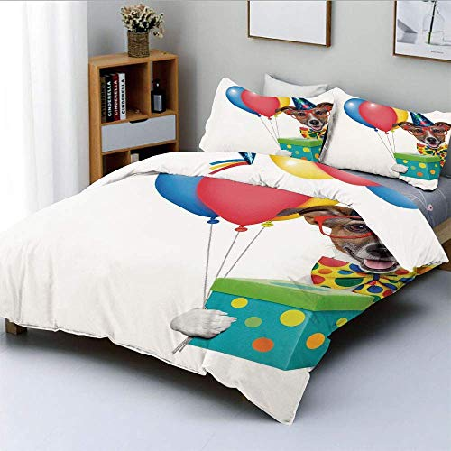 Qoqon Bettbezug-Set, Bunte Luftballons Boxen Dots Print Hund mit Party Cone PrintDecorative 3-teiliges Bettwäsche-Set mit 2 Kissen Sham, Mehrfarbig, Kinder & Erwachsene