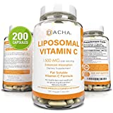 Natural Liposomal Vitamin C - 200 Capsules, 1500mg, Immune System & Collagen Booster, High Absorption Fat Soluble VIT C, Buffered, Anti Aging Skin Vitamins, Anti Inflammatory, Sunflower Lecithin