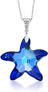 Sterling Silver Berumda Blue Starfish Pendant Made with Swarovski Crystals