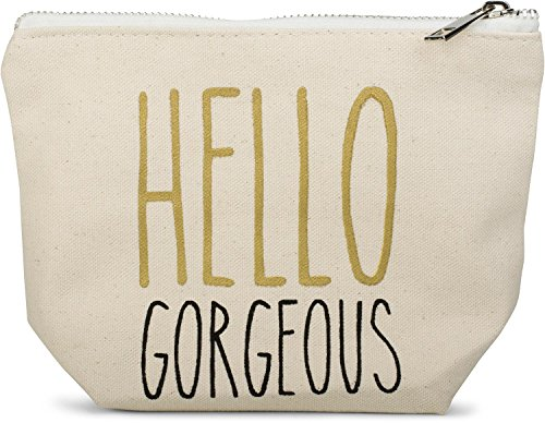 styleBREAKER Statement Beautybag mit 'Hello Gorgeous' Aufdruck, Kosmetiktasche, Make Up Bag, Tasche, Damen 02013007, Farbe::Creme-Beige