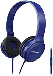 Panasonic RP-HF100M-A Lightweight ON-Ear Headphones with Microphone Plus Controller - Blue