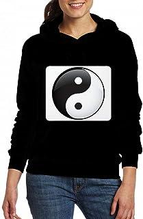 陰陽白黒HD Women Pocket Hoodie Sweater レディーズ トップス パーカー アクティブウェア