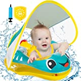 Baby Pool Float Inflatable Baby Float, Anti-Flip, Newest with SPF 50+ Sun Protection Canopy & Bottom Support Tail, Baby Floats for Pool, Infant Pool Floats for Age of 10-24 Months Babies