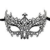sky tears Mascara Veneciana Mujer Negra Máscara de la Mascarada Metal Laser-Corte de Diamantes de Imitación Noche Baile Veneciano Carnaval Fiesta (Negra B)