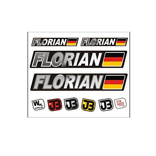 JOllify Florian Auto Fahrrad Motorrad Kart Helm Fahrername Aufkleber Sticker Flagge