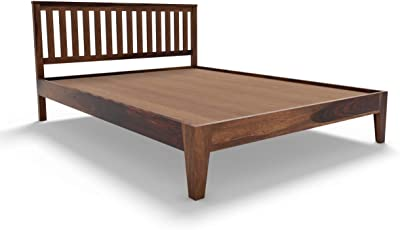 Shree Wooden Bed King Size lite Walnut Color cot