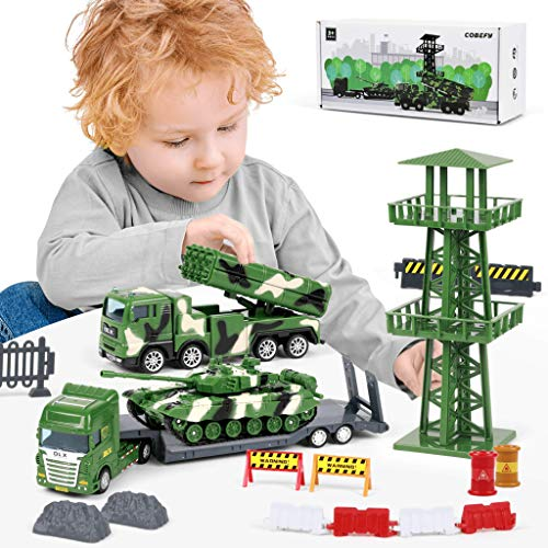 Army Toys Truck for Boys, Military Base Playset(40pcs), Tank, Missile Truck, Semi Trailer Transport Carrier Vehicle, Watchtower and Accessories, Gift for Age 3 and up Kids Toddlers Children Present