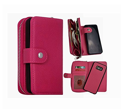 Galaxy S8 Plus Wallet Case, Detachable S8 Plus Case PU Leather Zipper Wallet Purse with Card Holder Coin Cash Storage Removable Slim Back Cover Shell for Samsung Galaxy S8 Plus (Rose)