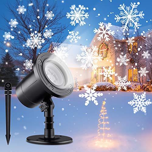 ShuBel Lampe Projecteur Noël Exterieur, LED Lumière Blanche Projecteur Flocon de Neige, Lumière Extérieur/Intérieur, IP65 Etanche, Lumière Projecteur Éclairage, de Noël Décorer Jardin / Fête
