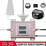 KKmoon GSM / 3G 900/2100 MHz 2G / 3G Amplificador de señal del teléfono móvil con doble pantalla LCD de doble banda teléfono móvil Booster señal repetidor Set de amplificadores