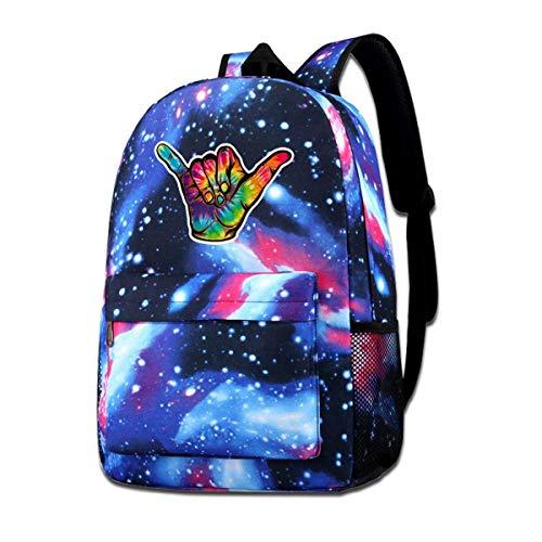Hdadwy Tie Dye Hang Loose Shaka Galaxy Mochila informal - Mochila unisex azul Bolso de hombro para viajes escolares