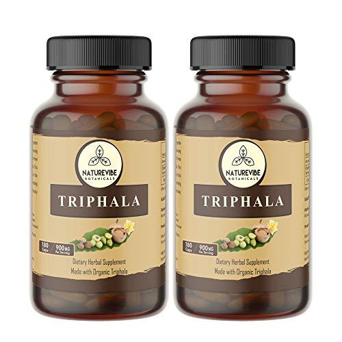 360 Capsules Organic Triphala –100% Organic Triphala Powder, 900mg Per Serving | Veg Capsules (2 Pack of 180 Cap Each)…