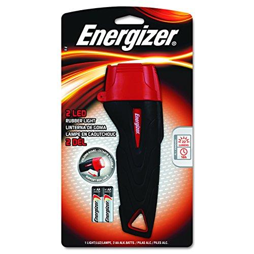 Energizer 2AA LED Rubber Flashlight, Black/Red