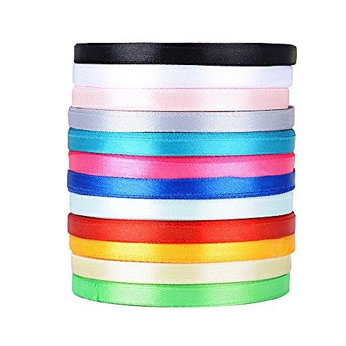 AONER 300yardas 274m Cinta de Raso Satén Seda Colores Mazcla 6mm para Embalaje Decoración de Regalo Cajas Flores Boda Navidad (12 Colores-6mm*270m(300 Yardas))
