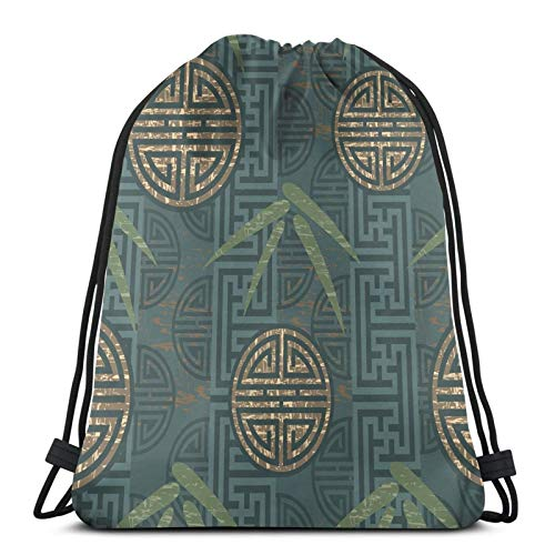 Authentic Asian Style Composition With Oriental Motifs Leaves Eastern Elements,Gym Drawstring Bags Backpack String Bag Sport Sackpack Gifts For Men & Women