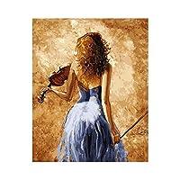 sesemao有名な油絵の複製、抽象的な色の壁画、ぶら下がっている絵画、防水 キャンバスバイオリンの女の子-フレームレス_60X60cm