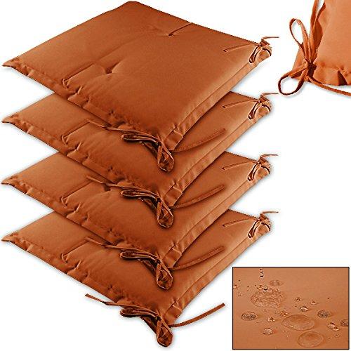 Detex® Stuhlauflagen Sydney 4er Set Wasserabweisend Kissen Sitzkissen Stuhlkissen Auflage Sitzauflage Terracotta