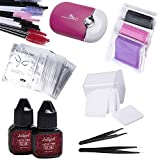 Eyelash Extension Kit 2x 10ML Latex-free Glue + 50 Pairs Hydrogel Eye Pads + 100 Cotton Swabs 100 Disposable Brushes + USB Air Fan Blower Dryer + 200 Glue Cleaning Pads + 2 Straight & Curved Tweezers