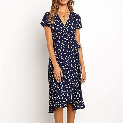 RuaRua Damen Kleid,Langes Kleid Print Boho Wrap Side Split Elegante Bodycon Navy Kleid, Navy, XL