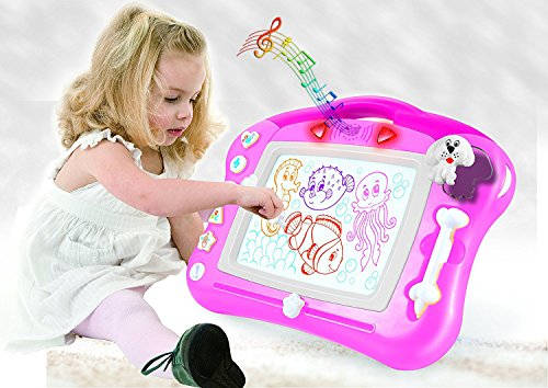 Magnetic Drawing Board for Kids - 4 Color Zone Erasable Magna Doodle Pad for Educational Sketching with Lights and Sounds - Great Gift for Boys and Girls 3+ - Pink and White