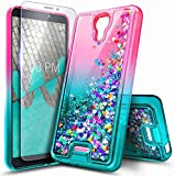NZND Case for Wiko Ride 2 (Boost Mobile 2020 Release) with Tempered Glass Screen Protector (Full Coverage), Glitter Liquid Floating Waterfall Durable Girls Cute Phone Case Cover (Pink/Aqua)