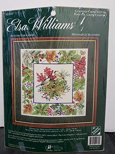 Elsa Williams Counted Cross Stitch Kit - Autumn Chickadees