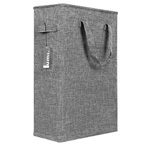 UMI Wäschekorb, schmal, 45 l, mit Griffen, tragbarer Wäschekorb, klein, für Kleidung, Schmutz, schmal, faltbar, 21 Zoll, Dunkelgrau