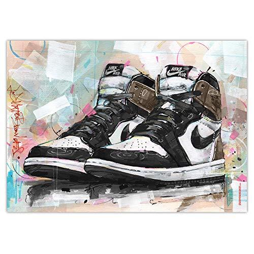 Impresión artística de Nike Air Jordan 1 Retro High 'Dark Mocha' (50 x 70 cm), sin marco.