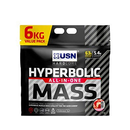 USN Hyperbolic Mass Strawberry 6 kg: All-In-One Mass Gainer Protein Powder, For Fast and Effective Weight Gain