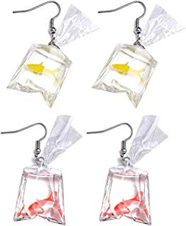 Funny Goldfish Water Bag Water Bottle Dangle Drop Earrings for Women Girls - 2 Pairs