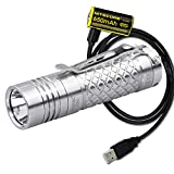 Eagletac D3C Clicky Titanium MKII 800 Lumen Ultra-Compact Everyday Carry Flashlight with Micro-USB Rechargeable Battery and LumenTac Charging Cable