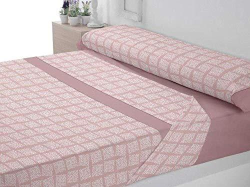 Trovador Premium. Juego de sábanas. Cama 150x200x30 . Modelo Yamil. Color Rosa. Composición 50% Algodón - 50% Poliéster. 4 Piezas -2 almohadones-