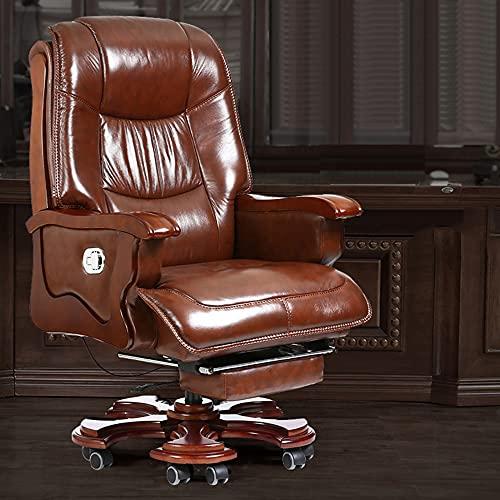Sedie da Ufficio, poltrone per Famiglie direzionali, sedie girevoli reclinabili per scrivania Computer, sedie Boss con Pedali retrattili, dal Design ergonomico/caffè / 60cm