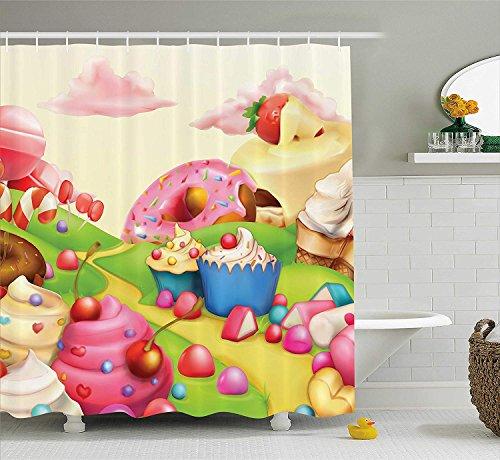 SHUHUI Moderna Tenda da Doccia Deliziosa Ciambella Dolce Land Cupcakes EIS zuccheriera Ovatta Nuvole Bambini cameretta Bambini Design Tessuto Bagno Decorazione Set con Crema Rosa