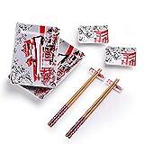 Panbado Set per Sushi Servizio di Sushi in Porcellana di Stile Giapponese Kit per 2 Persone con 2 Piatti da Sushi 2 Piatti da Salsa 2 Paia di Bacchette 2 Poggiabacchette Colore di Bianco e Rosso