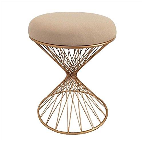Tabouret de maquillage en or Tabouret de repos Living Room Chaise de restaurant Creative ajouré en métal 35 * 45CM (Color : Brown)