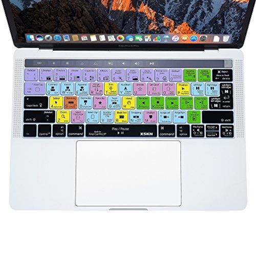 XSKN FCPX Final Cut Pro X atajos de (Inglés) de silicona de la teclado piel de la cubierta para MacBook Pro Touch bar 13
