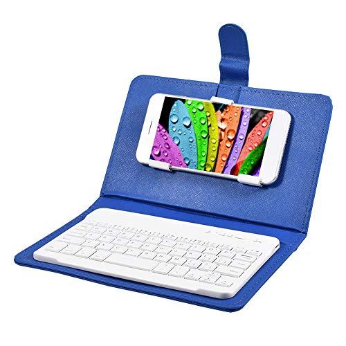 Eboxer Funda Protectora con Teclado Desmontable Bluetooth Portátil para Teléfonos, Soporte Incorporado de Teléfonos de 4.5-6.8in para iOS/Windows/Android(Azul)