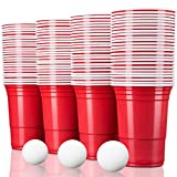 TRESKO Rote Partybecher 100 Stück | Beer Pong Party Cups | 473 ml (16 oz) | Bierpong Becher extra...