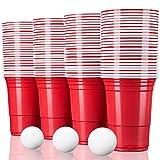 TRESKO® Gobelet américain Gobelet en plastique, pour boissons rafraîchissantes de la bière du coca des cocktails Beer Bière-pong, rouge, d'une capacité de 473 ml (100 pcs avec 6 Balles)