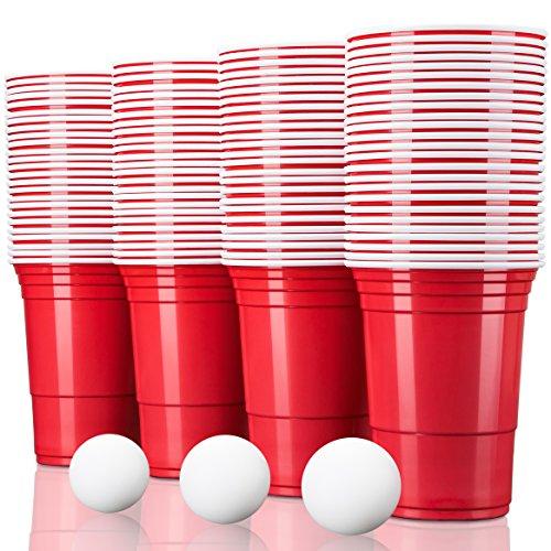 TRESKO Rote Partybecher 250 Stück | Beer Pong Party Cups | 473 ml (16 oz) | Bierpong Becher extra stark | Kunststoffbecher Plastikbecher Camping